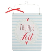 Schild Frohes Fest Holz MDF